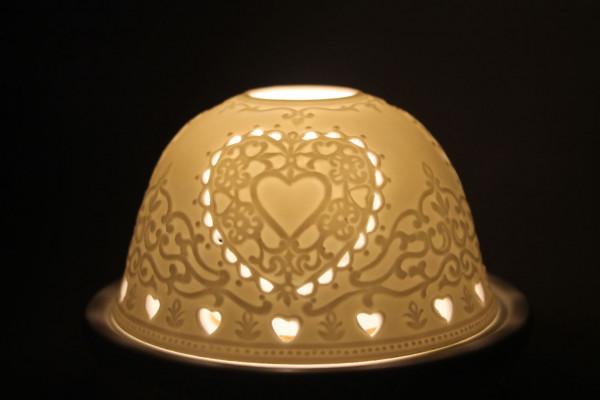 Porzellan Windlicht Dome Light Herz