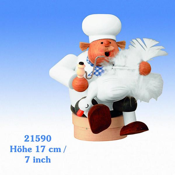 KWO Räuchermann Kantenhocker Koch mit Gans 17cm