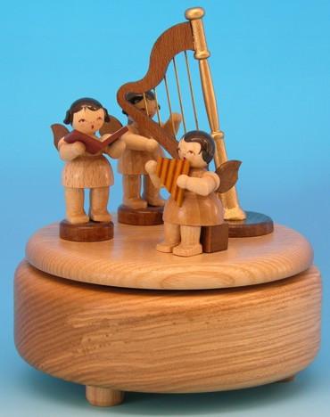Spieldose natur mit 3 Engel natur und Harfe H 14cm