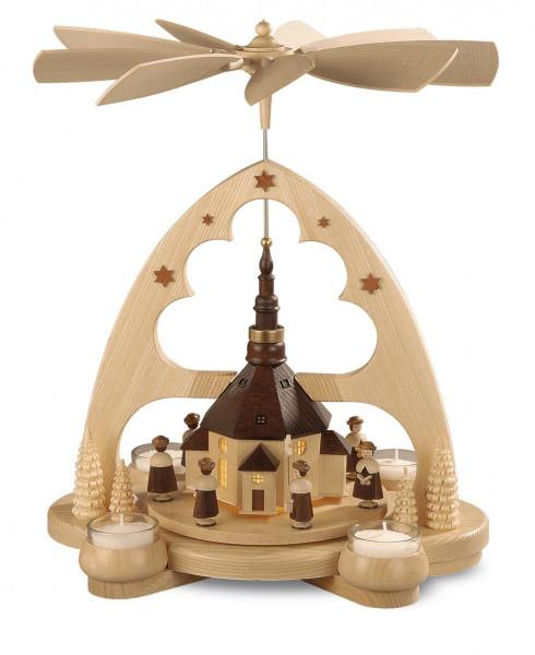 Bogenpyramide Seiffener Kirche LED beleuchtet 36cm