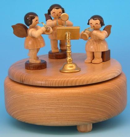 Spieldose natur mit 3 Engel natur und Harfe H 13cm