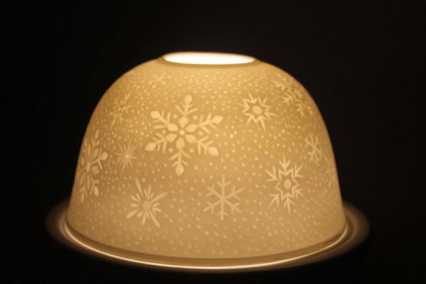 Porzellan Windlicht Dome Light Schneeflocke