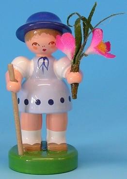 Blumenkind blau, Strauß rosa 6,5cm