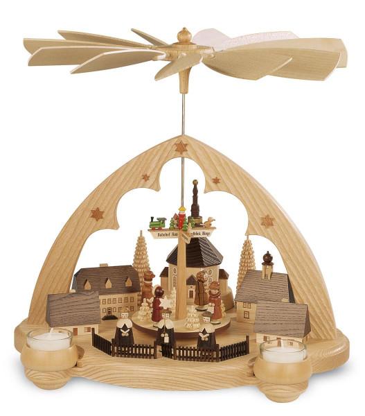 Teelichtpyramide Seiffener Dorf 36cm